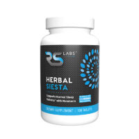 Herbal Siesta black label bottle supports normal sleep patterns with melatonin, GABA, key amino acids and soothing herbs