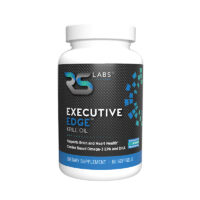Executive Edge Krill Oil black label bottle provides choline based Omega-3s EPA and DHA to support brain and heart health which are more effective than standard fish oil