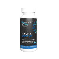 Magna-Soothe black label bottle provides a natural calming magnesium beverage mix for muscles and nerves, supporting deep relaxation in a great tasting berry flavor