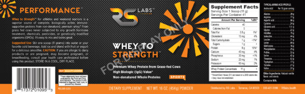 Biologically active Whey to Strength for biohackers and athletes full label with our yellow orange performance starburst