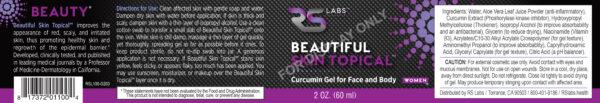 Beautiful Skin Topical curcumin gel for women full label with magenta bubble starburst logo